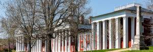 Washington and Lee University hall in Virginia exterior facade during sunny day with nobody, exterior brick architecture